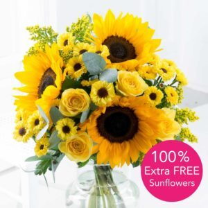 Cheerful Smile + 100% Extra Free Sunflowers